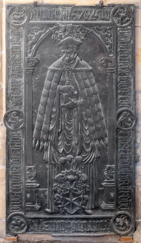 Halberstadt, Dom, Bronzegrabplatte für Friedrich von Britzke (1576), Hans Meissner