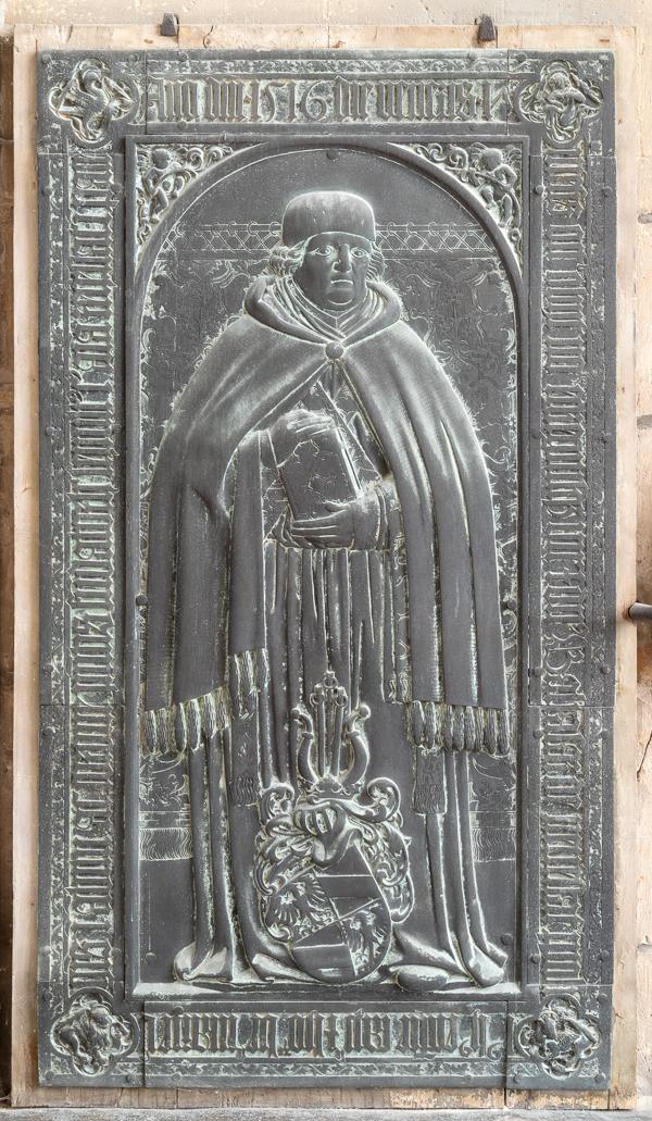 Halberstadt, Dom, Bronzegrabplatte für Balthasar von Neuenstadt (1516), Werkstatt Peter Vischer