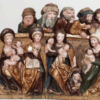 Relief mit Anna Selbdritt aus der Dorfkirche in Rabis im Thüringer Museum Eisenach (Predigerkirche), um 1490, Werkstatt des Johann Linde aus Jena